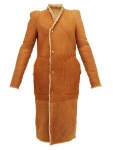 Rick Owens - Slit Cuff Panelled Shearling Coat - Womens - Tan