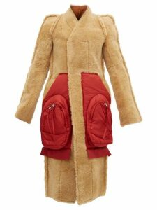 Rick Owens - Patch Pocket Single Breasted Shearling Coat - Womens - Tan Red