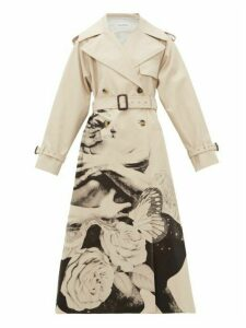 Valentino - Lovers Print Cotton Gabardine Trench Coat - Womens - Beige