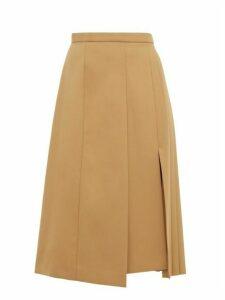 Joseph - Malvyn Asymmetric Pleated Twill Midi Skirt - Womens - Camel