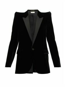 Saint Laurent - Pagoda Shoulder Satin Lapel Velvet Blazer - Womens - Black