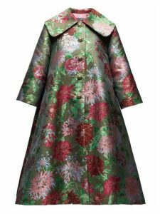 Dolce & Gabbana - Crystal Buttons Metallic Brocade Opera Coat - Womens - Red Multi