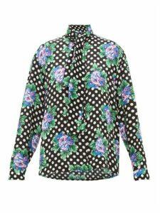 Balenciaga - Floral And Polka Dot-print Silk Blouse - Womens - Black Print