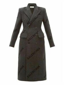 Balenciaga - Hourglass Logo Print Cashmere Coat - Womens - Dark Grey