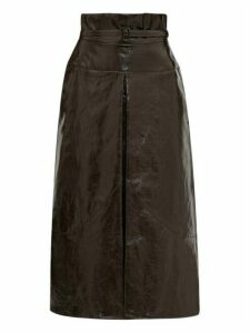 Lemaire - Belted Coated Linen Midi Skirt - Womens - Dark Brown