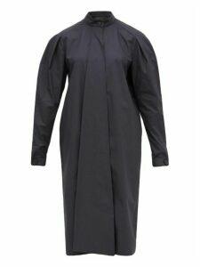 Lemaire - Draped Panel Cotton Shirtdress - Womens - Dark Grey