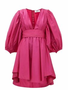 Msgm - Balloon Sleeve Glitter Taffeta Mini Dress - Womens - Pink