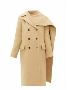 Msgm - Removable Scarf Wool Blend Double Breasted Coat - Womens - Beige