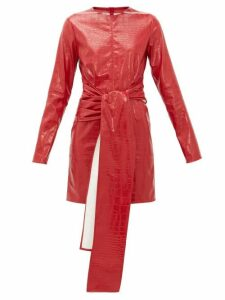 Msgm - Crocodile Effect Faux Leather Dress - Womens - Red