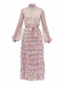 Giambattista Valli - Tiered Floral-print Silk-georgette Dress - Womens - White Multi