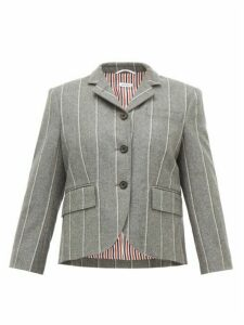 Thom Browne - Chalk Striped Wool Twill Single Breasted Blazer - Womens - Grey