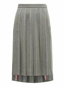 Thom Browne - Chalk Striped Pleated Wool Midi Skirt - Womens - Grey