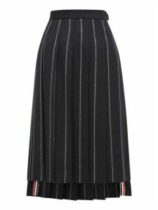 Thom Browne - Layered Chalk Striped Pleated Wool Midi Skirt - Womens - Navy