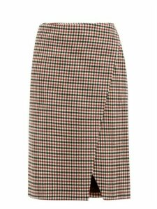 Holiday Boileau - Cody Gingham Wool Blend Wrap Skirt - Womens - Brown
