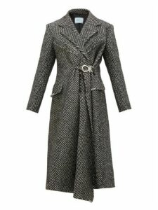 Prada - Gathered Waist Raw Edge Wool Blend Coat - Womens - Black White