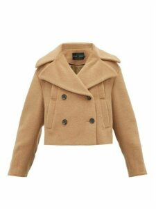 Proenza Schouler - Double Breasted Felted Cropped Pea Coat - Womens - Camel