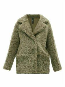 Giani Firenze - Ingrid Reversible Shearling And Leather Coat - Womens - Dark Green
