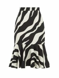 Elzinga - Zebra Jacquard Peplum Hem Midi Skirt - Womens - Black White