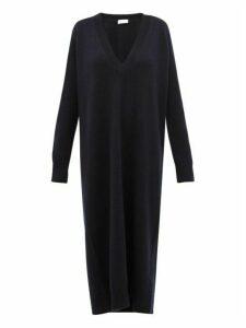 Raey - Deep V Neck Cashmere Dress - Womens - Navy