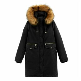Long Warm Hooded Parka in Cotton Mix