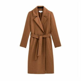Long Wool Mix Coat with Belt and Pockets