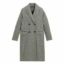 Boyfriend Houndstooth Check Coat with Double-Breasted Buttons