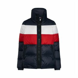 Padded Jacket with Wide Multi-Coloured Stripes