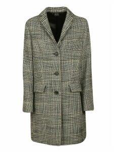 Aspesi Tartan Print Buttoned Coat
