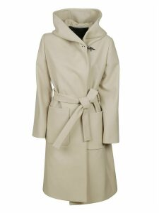 Fay Large Hood Fitted Belted Coat