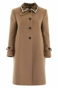 Miu Miu Coat With Leopard Printed Collar