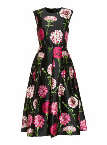 Dolce & Gabbana Carnation Print Silk Midi Dress