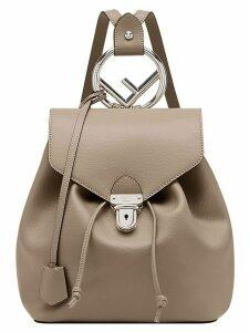 Fendi logo plaque backpack - Brown