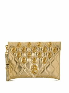 Moschino dollar sign motif plaque clutch - Gold