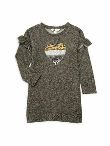 Little Girl's & Girl's Heart Embroidered T-Shirt Dress