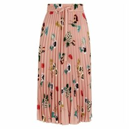 RED Valentino Blush Floral-print Midi Skirt