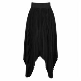 HYKE Black Pleated Satin Midi Skirt