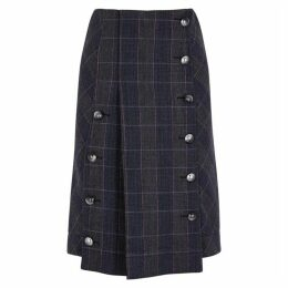Chloé Navy Checked Wool-blend Skirt