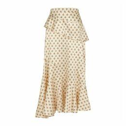 ALEXACHUNG Ivory Floral-print Satin Midi Skirt