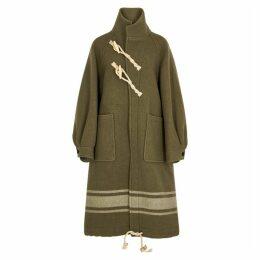 HYKE Olive Striped Wool Coat
