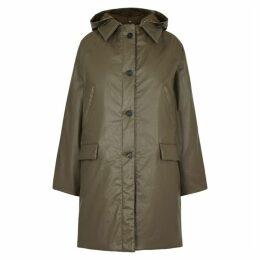 KASSL Green Padded Coated Cotton-blend Coat
