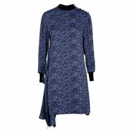 Chloé Blue Floral-jacquard Dress