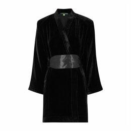 ALEXACHUNG Twilight Kimono Black Velvet Wrap Dress