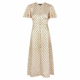 ALEXACHUNG Durum Floral-print Satin Midi Dress