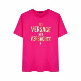 VERSACE Fuchsia Printed Cotton T-shirt