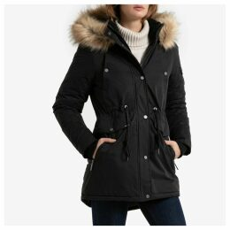 Nadar Mid-Length Parka with Faux Fur Hood