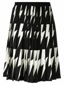 Neil Barrett lightning bolt pleated skirt - Black