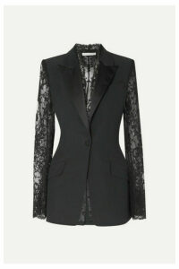Alexander McQueen - Satin-trimmed Grain De Poudre And Lace Blazer - Black