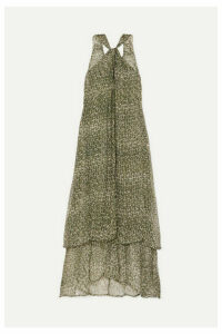 Cloe Cassandro - Ruby Layered Printed Silk-crepon Maxi Dress - Army green
