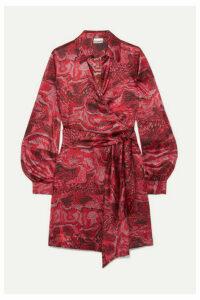 GANNI - Belted Printed Stretch-silk Satin Wrap Mini Dress - Red