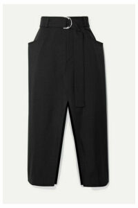 Proenza Schouler - Belted Wool-blend Twill Midi Skirt - Black